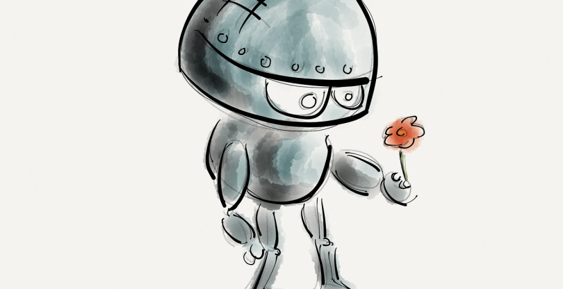 Robot with a flower