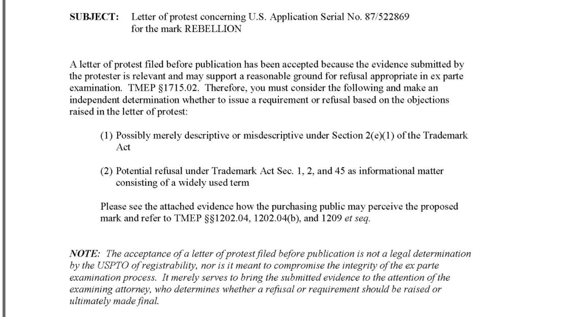 screenshot of USPTO letter